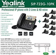 Yealink [10-Pack] T23G IP Phone, 3 Lines. 2.8-Inch Graphical LCD. Dual-Port 10/100 Ethernet, 802.3af PoE, Power Adapter Not Included (SIP-T23G-10)