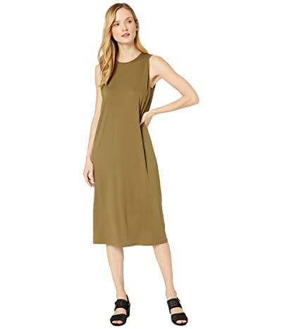 Eileen Fisher Fine Tencel Jersey Crew Neck Tank Slim Dress (Olive) Women