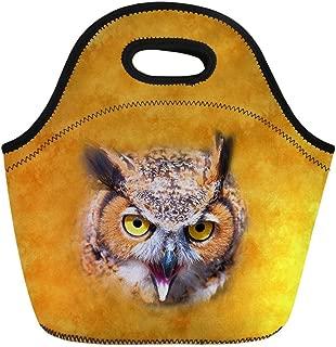 HUGS IDEA Women Girl Yellow Lunch Bag Owl Pattern Neoprene Insulated Food Lunch Storage Bag Keep Hot
