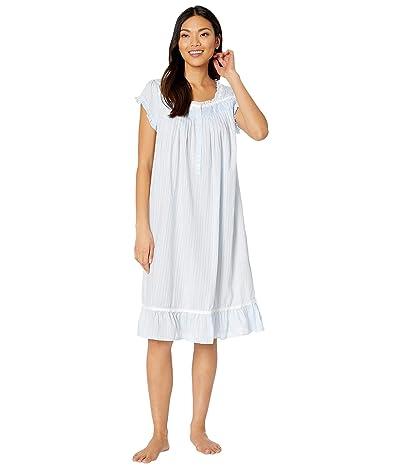 Eileen West Cotton Woven Dobby Stripe Cap Sleeve Waltz Nightgown (Peri) Women