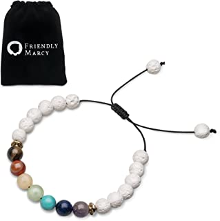 Chakra Bracelets-Natural Semi Precious Gemstones-Essential Oil Diffuser Lava Bracelets-Also Suitable as Couples Best Friend Distance Bracelets-Rock Stone Beads-Anxiety Relief Healing Protection Energy