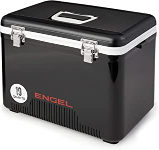 Engel 13 Quart Heavy-Duty Insulated Cooler Ice/Drybox, Leak Proof Odor Resistant with 18 Can Capacity, Black
