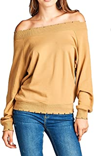 Khanomak Women's Plain Oversized Long Sleeve Lightly Distressed Ribbed Hem Knit Pullover Sweater Top