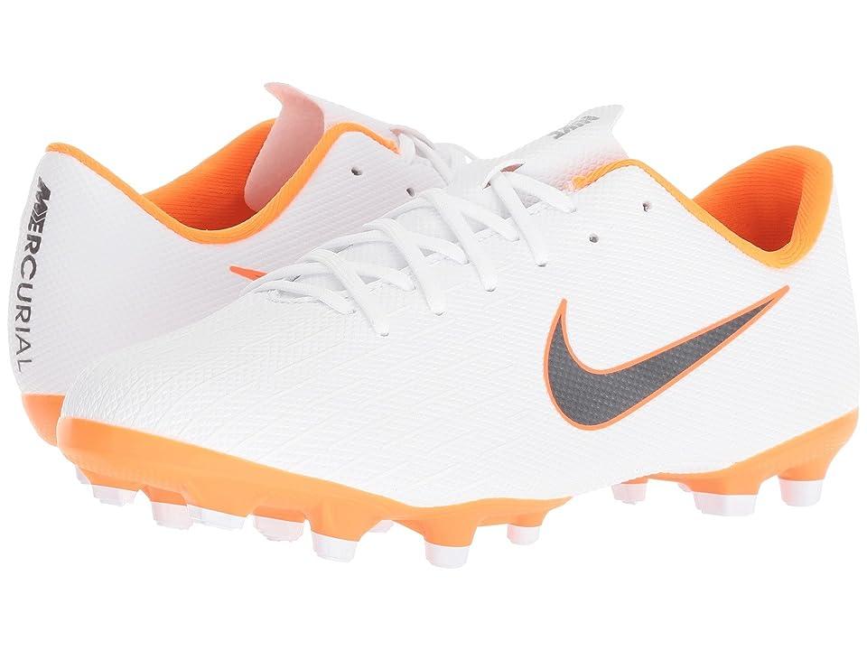 Nike Kids Vapor 12 Academy MG Soccer (Toddler/Little Kid/Big Kid) (White/Metallic Cool Grey/Total Orange) Kids Shoes