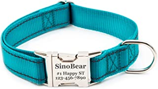 Reflective Dog Collar with Name Plate, Dog Collar Personalized with Pet Name, Phone Number, Address Adjustable Size (XS S M L)