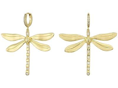 Vince Camuto Huggie Dragonfly Drop Earrings (Gold/Crystal) Earring