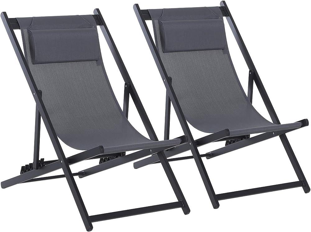 outsunny set da 2 sedie sdraio per esterno pieghevoli e reclinabili in alluminio e textilene ad alta densità it84b-342cg0631