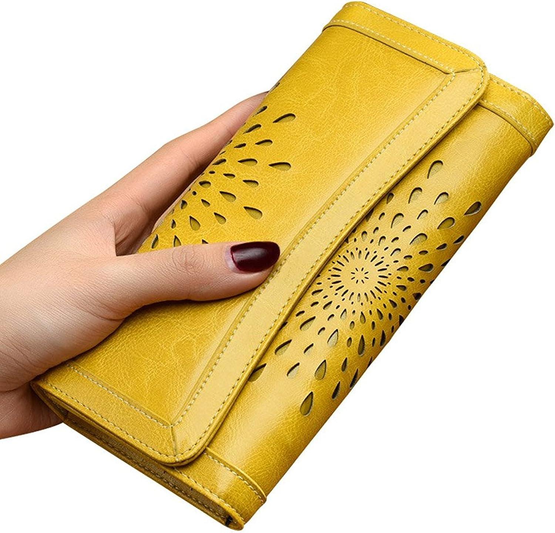 Cheryl Bull Fashion Hollowedout Womens Wallet Wax Leather Long Purse