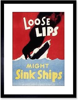 Wee Blue Coo 9x7 '' Propaganda WAR WWII USA Loose Lips Sink Ships Framed Art Print F97X1008