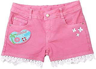 Dolcevida Girl's Pink Jean Shorts Toddler Girls Stretchy Denim Shorts Sizes 2T-9