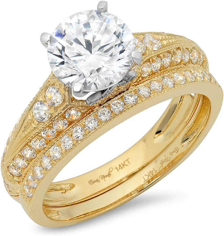 2.20 CT Round Cut CZ Pave Halo Solitaire Designer Classic Ring Band Set Solid 14k Yellow White Gold