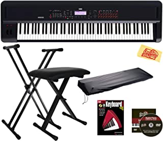 Korg Kross 2 Synthesizer Workstation Bundle with Adjustable Bench, Stand, Dust Cover, Instructional Book, Austin Bazaar Instructional DVD, and Polishing Cloth