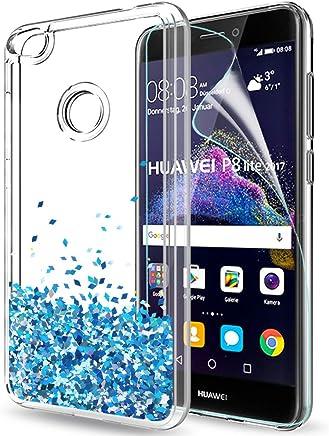 f93c56b3dc7 LeYi Funda Huawei P8 Lite 2017 / P8Lite 2017 Silicona Purpurina Carcasa con  HD Protectores de