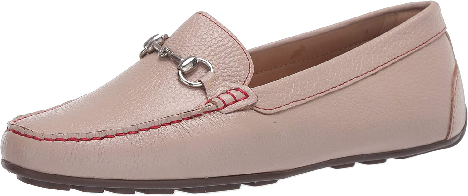 Driver Club USA Women's Leather Made in Brazil Luxury Driving Loafer with Bit Buckle, Cream Grainy/Contrast Stitch, 9.5 M US