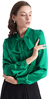 LilySilk Bow-tie Neck Silk Blouse for Women Long Sleeve Ladies Tops Buttons VintageReal Silk Shirts