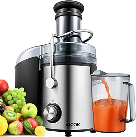 Licuadora Para Verduras y Frutas, Aicok 800W Licuadora Exprimidor y Extractor de Zumos Exprimidor Centrífugo con Boca Ancha de 75MM, 2 Velocidades con Base Antideslizante, Libre de BPA