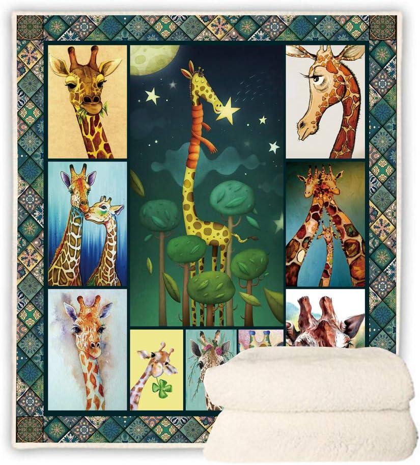 BEDBLK Cartoon Giraffe Sherpa Fleece Comfy お金を節約 P Blanket Super テレビで話題 Throw