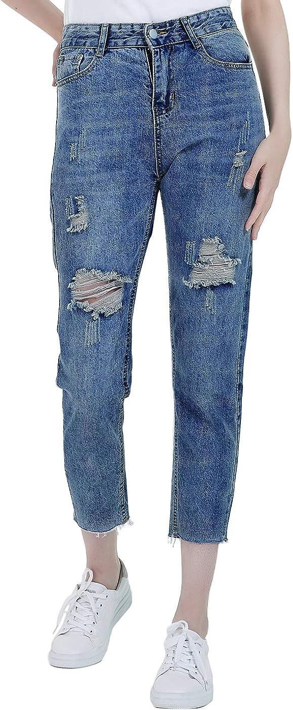 Anna-Kaci Cropped Denim Pants 特売 格安店 Ripped Skinny Mom Distressed Jeans