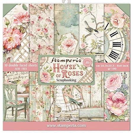 """Stamperia Mini Bloc Papier Scrap Double Face 10 Feuilles 20.3X20.3 (8""""X8"""") -House of Roses, Multi-Colored, 20,3x20,3 cm, Set Pièces"""