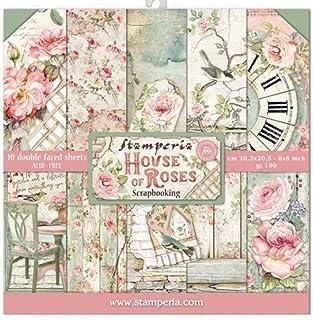 "Stamperia Mini bloc Papier Scrap double Face 10 feuilles 20.3X20.3 (8""X8"") - House of Roses, Multi-Colored, 20,3x20,3 cm, ..."