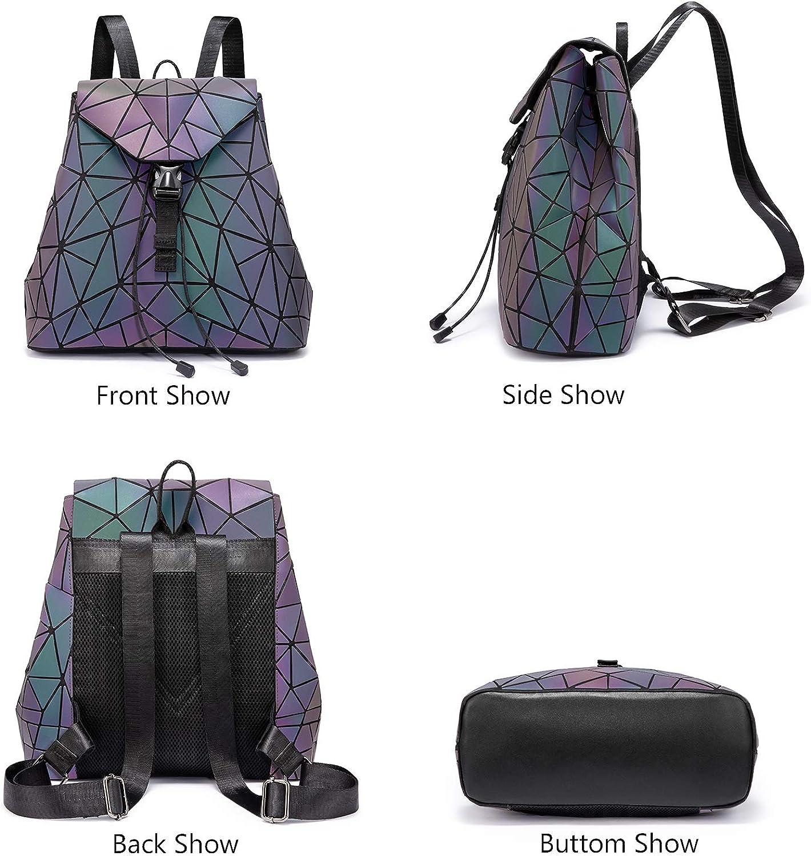 Geometric Luminous Purses and Handbags for Women Holographic Reflective Crossbody Bag Wallet