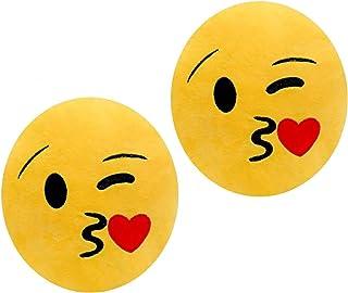 ML Pack de 2 Cojines Emoticonos Cojín Almohada Redonda Emoticon Peluche Bordado con Ojos corazón y Sonrisa 35x33x5cm (Beso Beso)