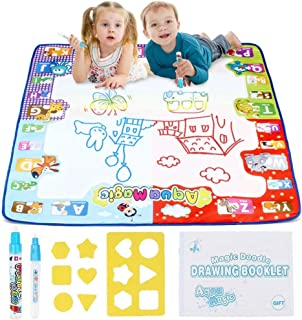 Doodle Mat, Water Doodle Magic Mat  Aqua Drawing Mat  Kids Toys Toddlers Painting Board Neon Colors  Large Size 31X 31inch with 2 Magic Pens