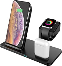 【MFi Certified】 3 in 1 Charging Dock Station for Apple Watch/Airpods, KZY Fast Wireless Charger Charging Stand for iPhone 11/X/XR/XS/XS MAX/8/8 Plus and All Other Qi Phones-QC3.0 Adapter Included