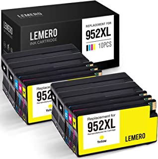 LEMERO Remanufactured Ink Cartridges Replacement for HP 952XL 952 XL to use with OfficeJet Pro 8710 8720 8740 7720 8200 8210 8715 7740 8730 (Black Cyan Magenta Yellow, 10-Pack)