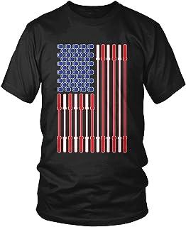Amdesco Men`s Barbell and Kettlebell American Flag T-Shirt