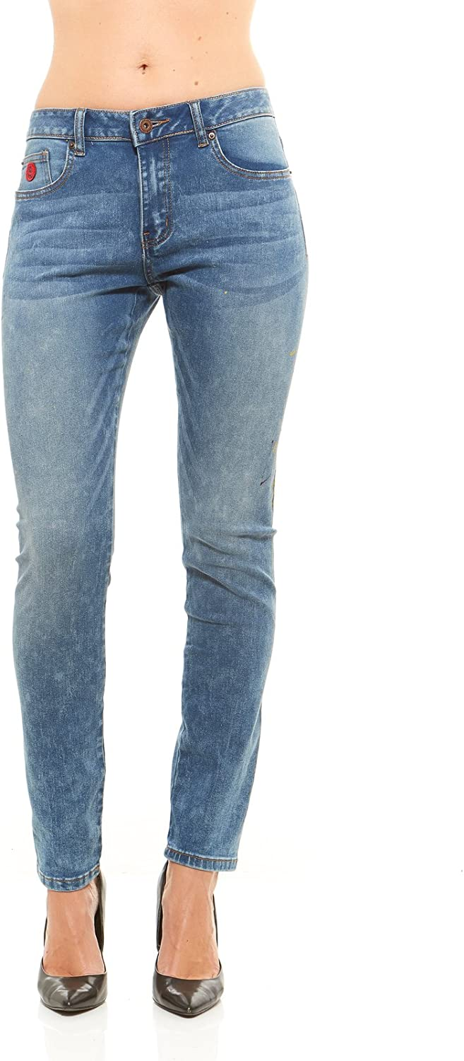 Red Jeans Women's Classic High Rise Button Logo Denim Jeans