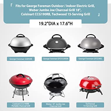 """Electric Grill Cover for George Foreman GGR50B, Weber Jumbo Joe Charcoal Grill 18"""", Heavy Duty Waterproof BBQ Grill Cover"""