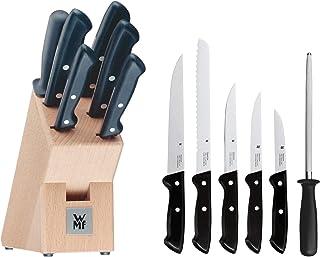 WMF Classic Line Messerblock mit Messerset, 7-teilig, bestückt, 5 Messer, 1 Wetzstahl, 1 Block aus Buchenholz, Spezialklingenstahl, schwarz