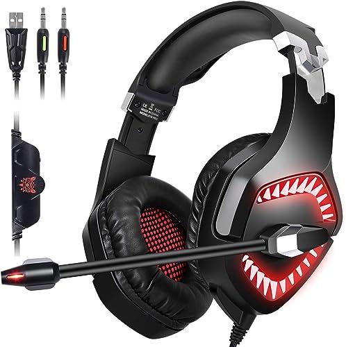Gaming Headset,Proslife Denoise Game Headphone with Mic,LED Lighting,Rotatable Ear Shell,50mm Super Bass Speakers Ear...