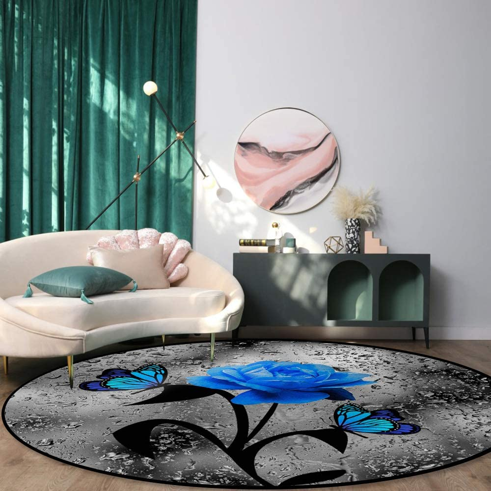 Round Rug Indefinitely for Dining Room Popular overseas Bedroom Blue Rose Non-S with Butterfly