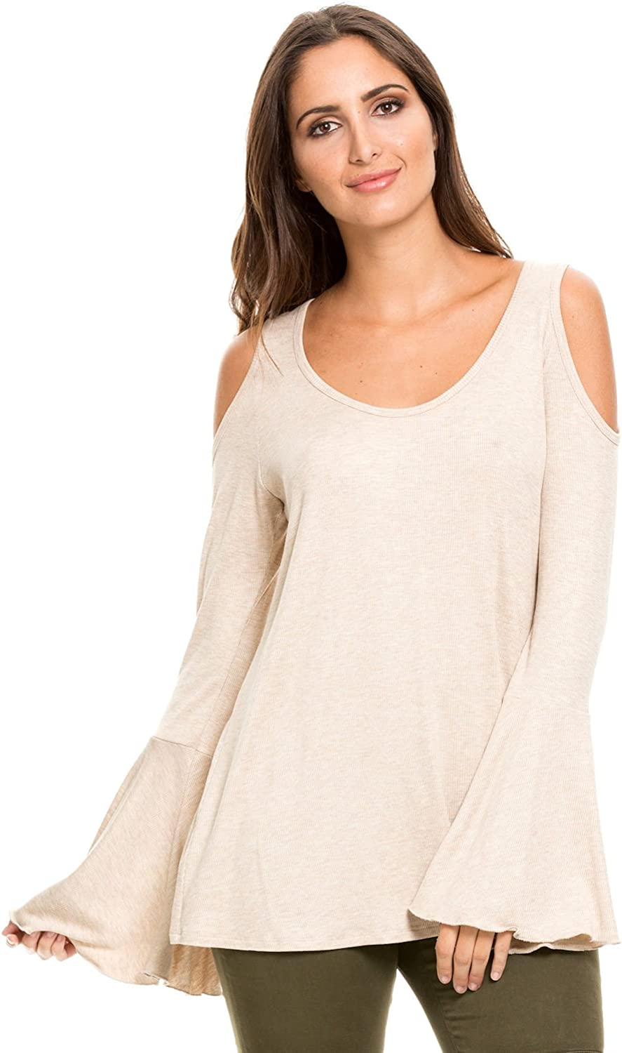 Elan Women's Bell Sleeve Cold Shoulder Tunic Sweater