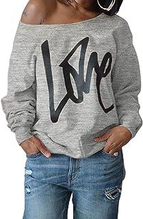 Yanekop Womens Love Letter Printed Off Shoulder Pullover Sweatshirt Slouchy Tops Shirts