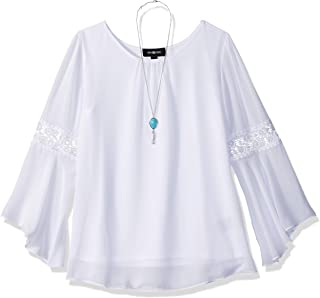 Amy Byer Girls' Big Bell Sleeve Top with Lace Inset