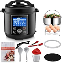MOOSOO 12-in-1 Electric Pressure Cooker Instant Programmable Pot, Slow Cooker, Steamer, Saut�, Rice Cooker, Yogurt Maker, Cake Maker, Egg Cooker, Sterilizer and Warmer with ETL Certified, 10+ Accessories, 6 Quart, Black