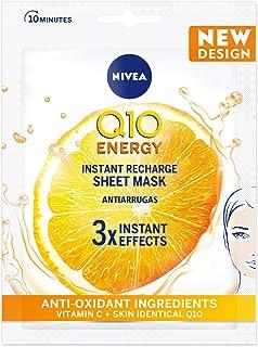 NIVEA Q10PlusC Mascarilla de Tejido Antiedad + Energizante (1 ud) mascarilla antiarrugas con 3 efectos instantáneos masc...