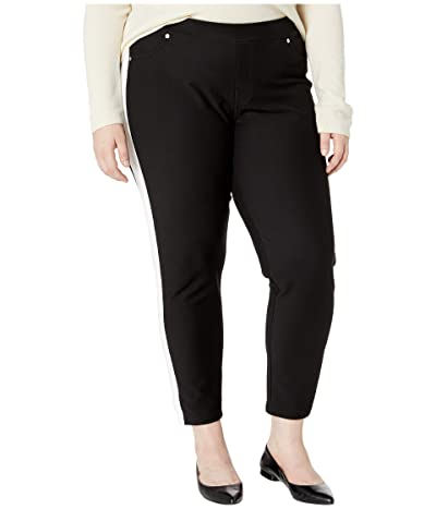MICHAEL Michael Kors Plus Size Stripe Pull-On Leggings (Black) Women