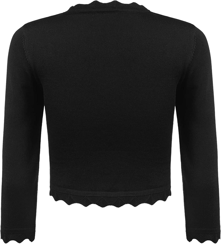 Guteer Women's Bolero Cropped Cardigan Open Front Shrug Bolero Jackets Full Sleeve Knit Cardigans Sweaters