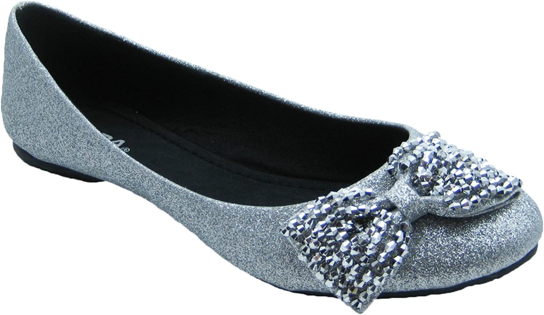 Women's Silver Glitter Ballet Flats w
