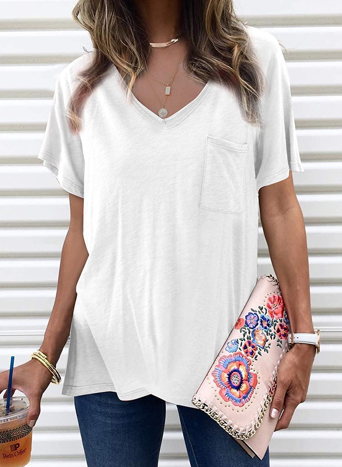 Pevilo Womens Short Sleeve V Neck T Shirt Loose Casual Tee/ Shirts Tops