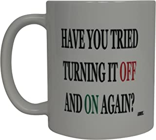 Funny Computer Coffee Mug Have You Tried Turning It On and Off Again Novelty Coffee Cup Work