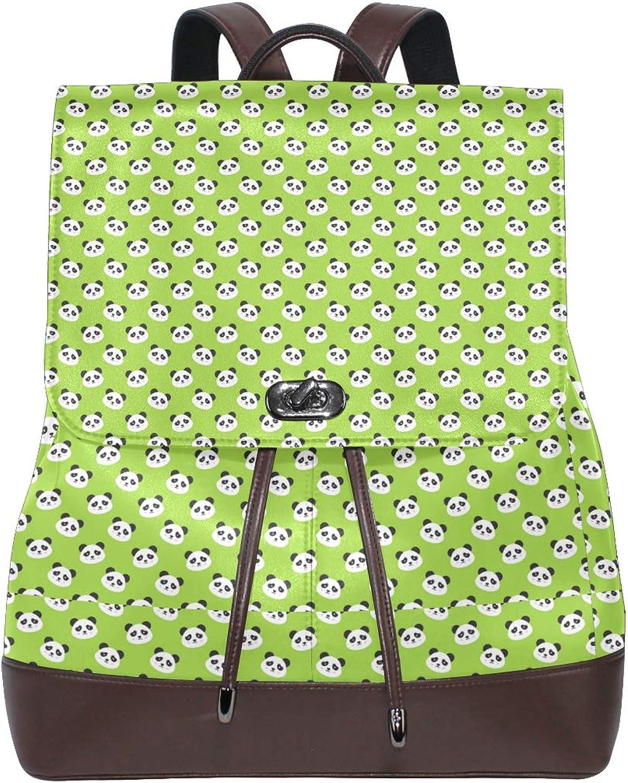 Unisex PU Leather Backpack Panda Bear Head Green Print Women's Casual Daypack Mens Travel Sports Bag Boy's College Bookbag