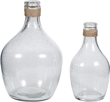 Signature Design by Ashley Marcin Modern Glass 2 Peiece Bottle Neck Vase Set, Clear