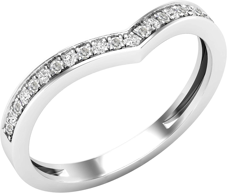 Dazzlingrock Collection Round Lab Created Gemstone & Natural White Diamond Ladies Bridal Chevron Anniversary Wedding Band, 10K White Gold