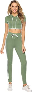Aiboria Womens Two Piece Outfit Sport Bodycon Crop Top Long Pant Tracksuit