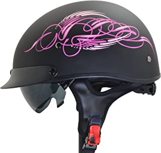 Vega Helmets Unisex-Adult Half Helmet (Pink Scroll on Matte Black, Small)
